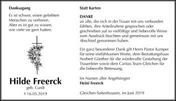 Traueranzeige für Hilde Freerck vom 15.06.2019 aus Göttinger Tageblatt