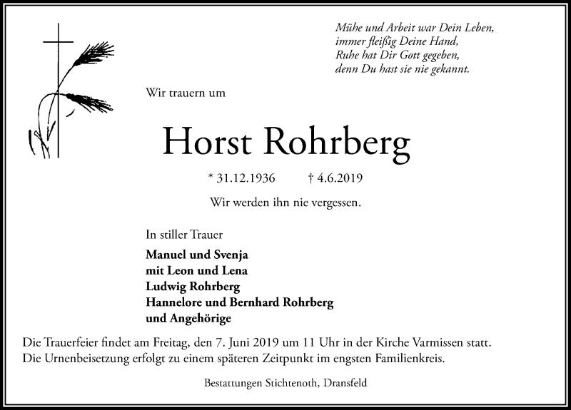 Traueranzeige für Horst Rohrberg vom 06.06.2019 aus Göttinger Tageblatt