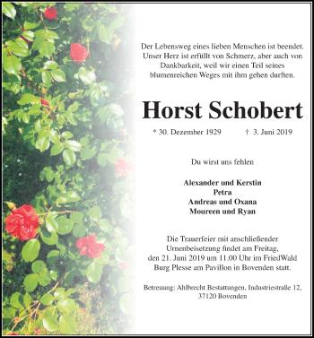 Traueranzeige für Horst Schobert vom 15.06.2019 aus Göttinger Tageblatt