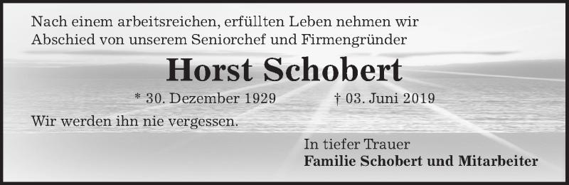 Traueranzeige für Horst Schobert vom 08.06.2019 aus Hannoversche Allgemeine Zeitung/Neue Presse