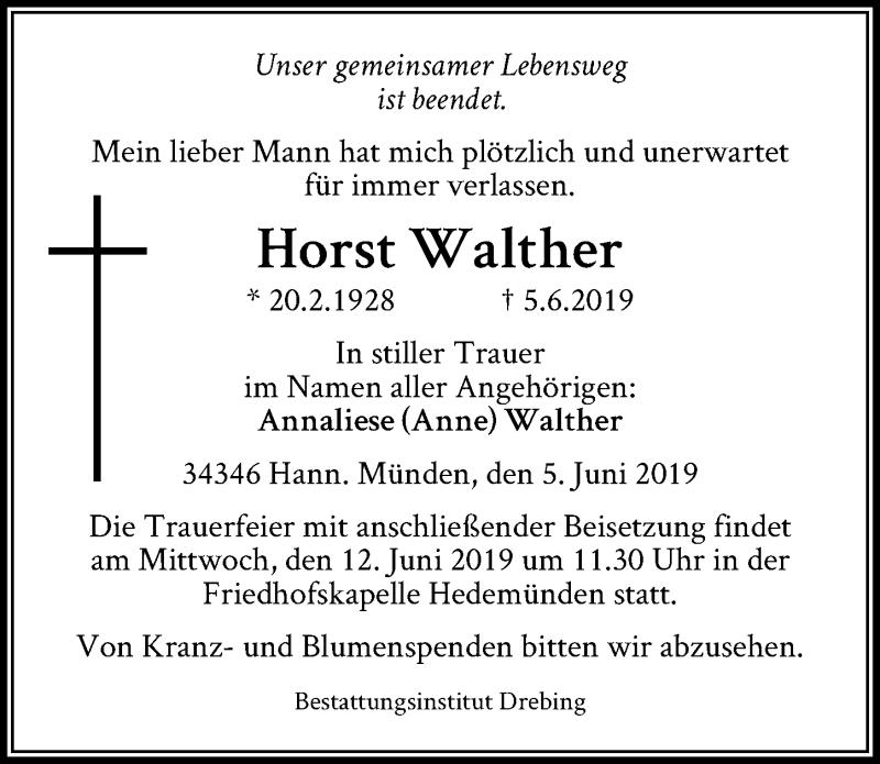 Traueranzeige für Horst Walther vom 08.06.2019 aus Hannoversche Allgemeine Zeitung/Neue Presse