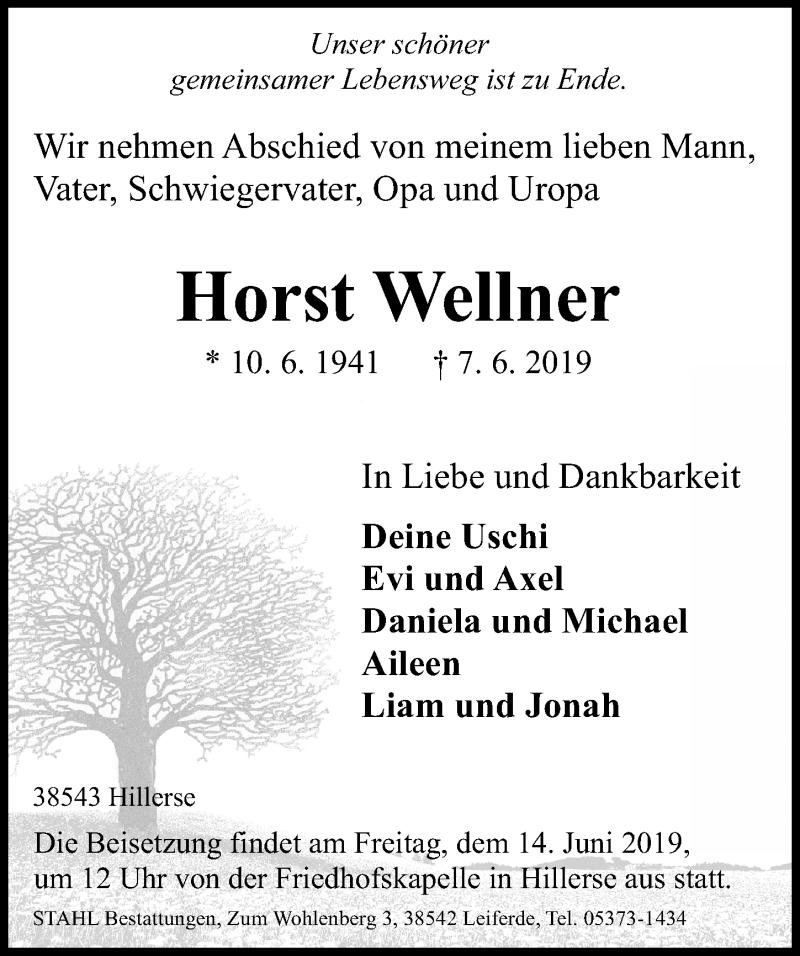 Traueranzeige für Horst Wellner vom 12.06.2019 aus Aller Zeitung