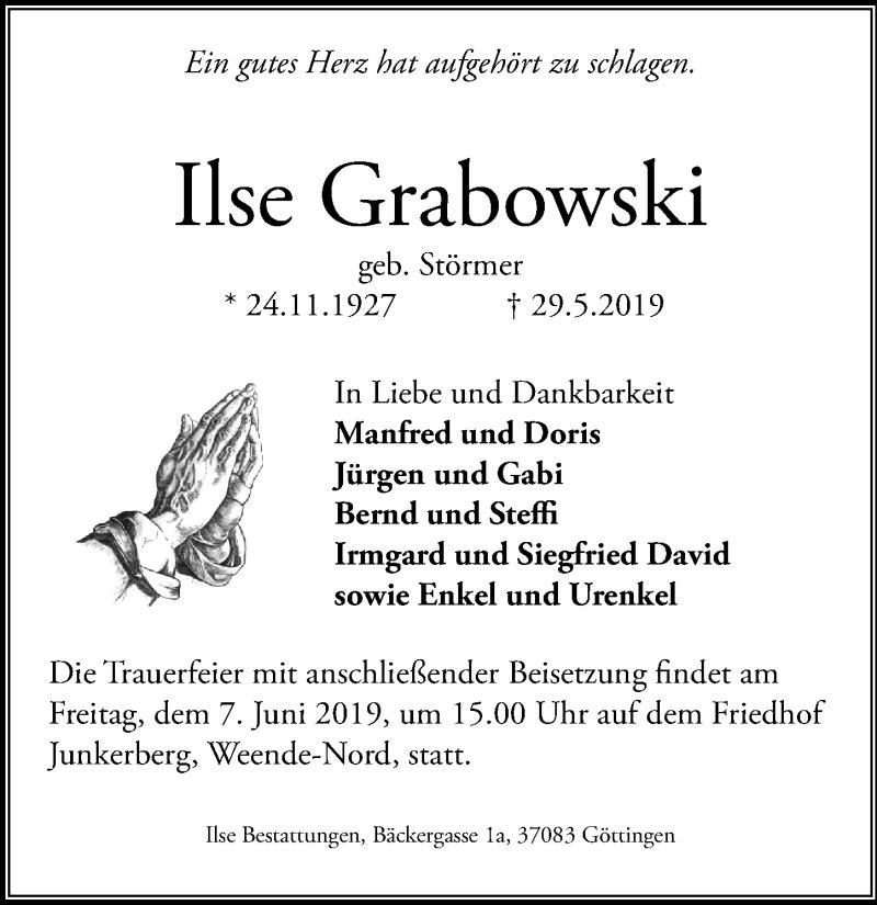 Traueranzeige für Ilse Grabowski vom 01.06.2019 aus Göttinger Tageblatt