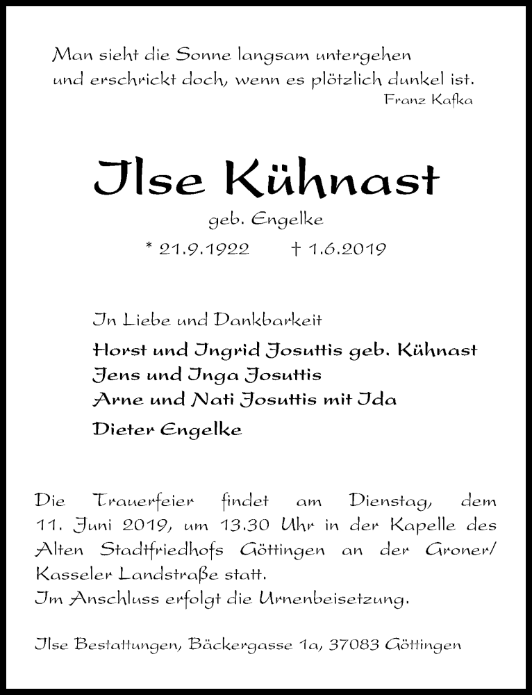 Traueranzeige für Ilse Kühnast vom 08.06.2019 aus Göttinger Tageblatt