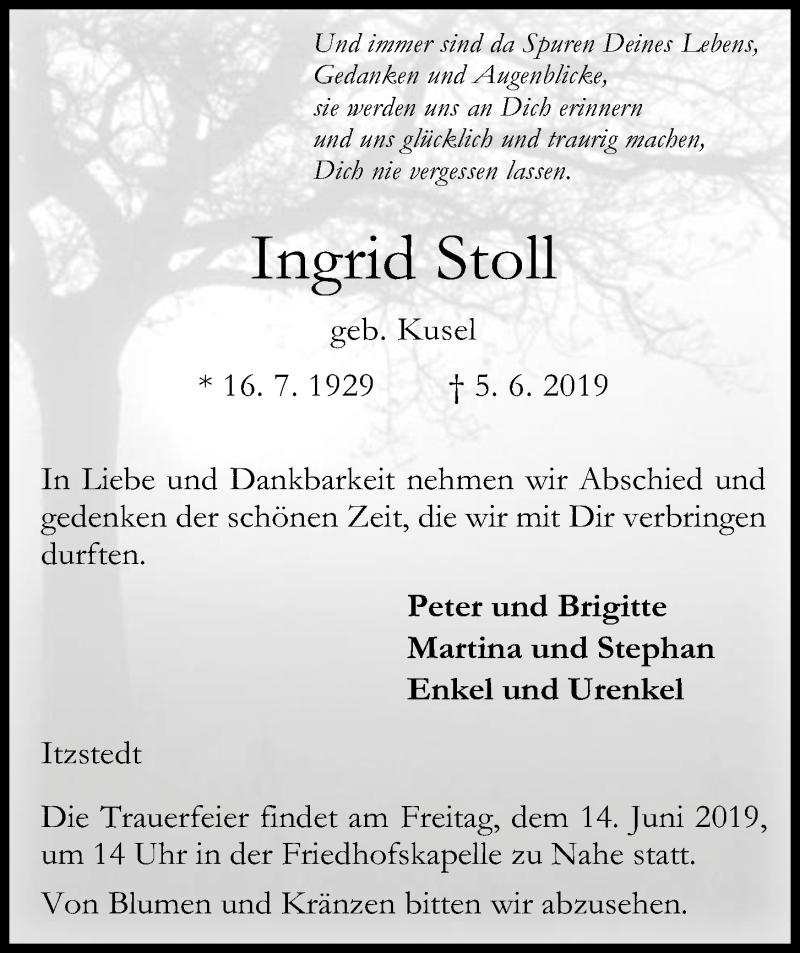 Traueranzeige für Ingrid Stoll vom 12.06.2019 aus Kieler Nachrichten