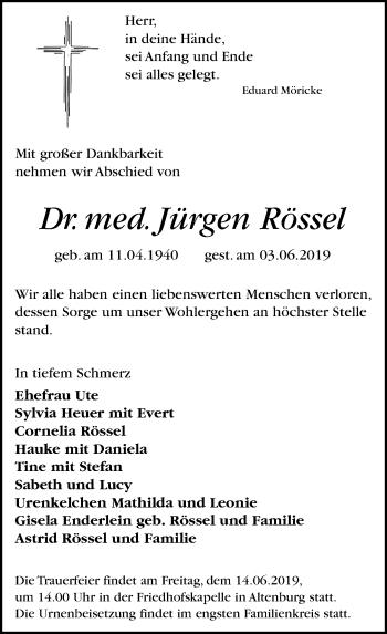 Traueranzeige für Jürgen Rössel vom 08.06.2019 aus Leipziger Volkszeitung
