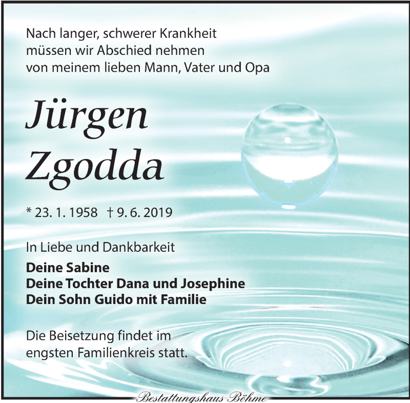 Traueranzeige für Jürgen Zgodda vom 15.06.2019 aus Torgauer Zeitung