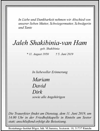 Traueranzeige für Jaleh Shakibinia-van HAm vom 08.06.2019 aus Schaumburger Nachrichten