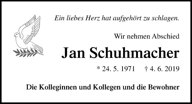 Traueranzeige für Jan Schuhmacher vom 08.06.2019 aus Ostsee-Zeitung GmbH