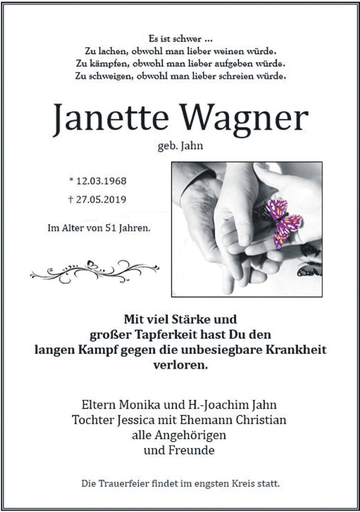 Traueranzeige für Janette Wagner vom 08.06.2019 aus Leipziger Volkszeitung