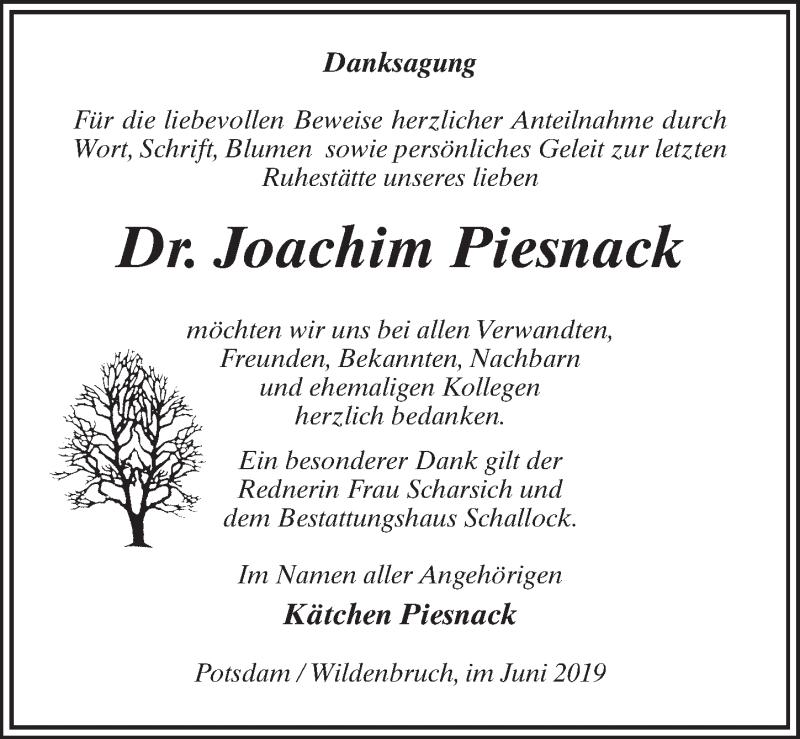 Traueranzeige für Joachim Piesnack vom 22.06.2019 aus Märkischen Allgemeine Zeitung