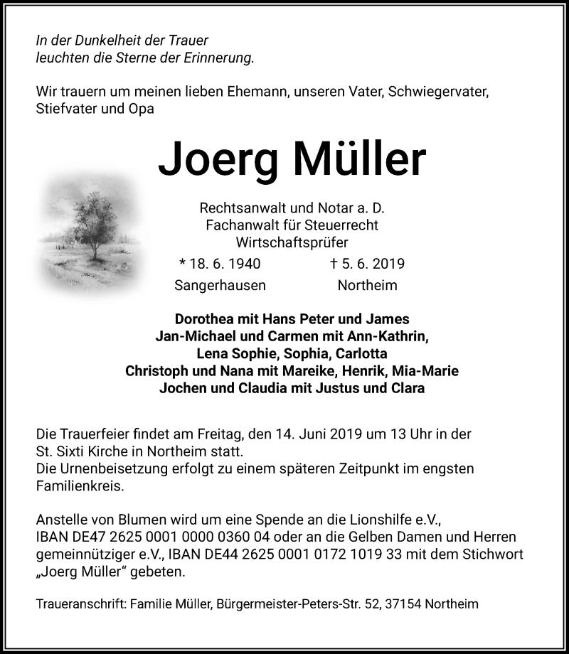 Traueranzeige für Joerg Müller vom 08.06.2019 aus Eichsfelder Tageblatt