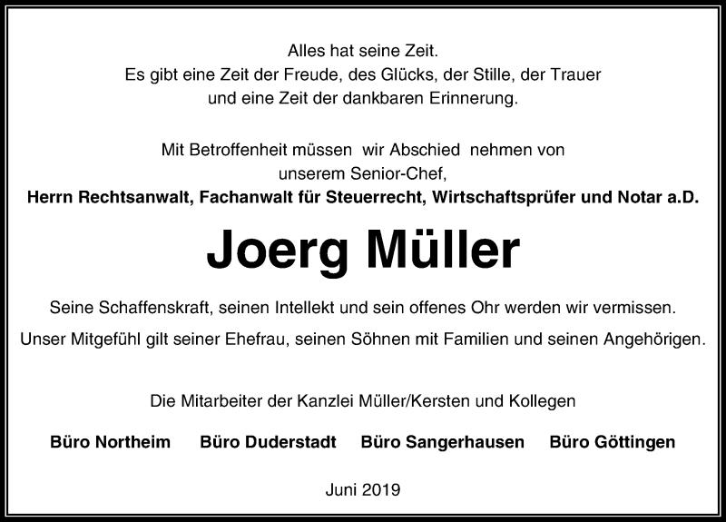 Traueranzeige für Joerg Müller vom 11.06.2019 aus Eichsfelder Tageblatt