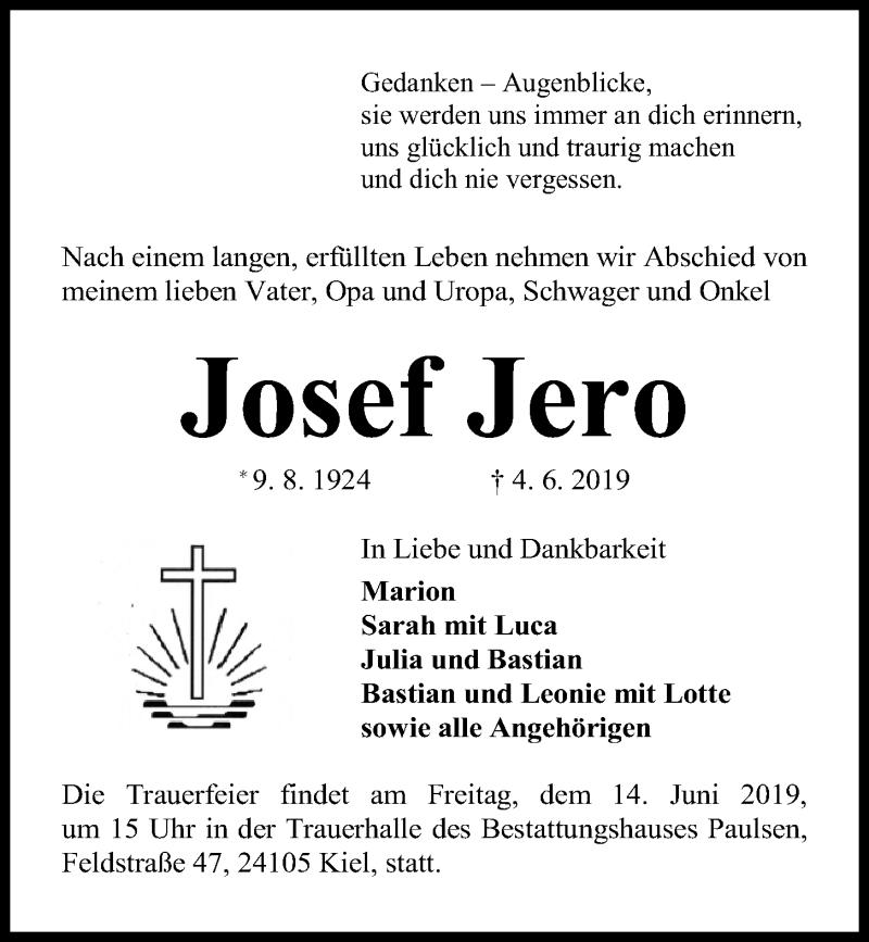 Traueranzeige für Josef Jero vom 08.06.2019 aus Kieler Nachrichten