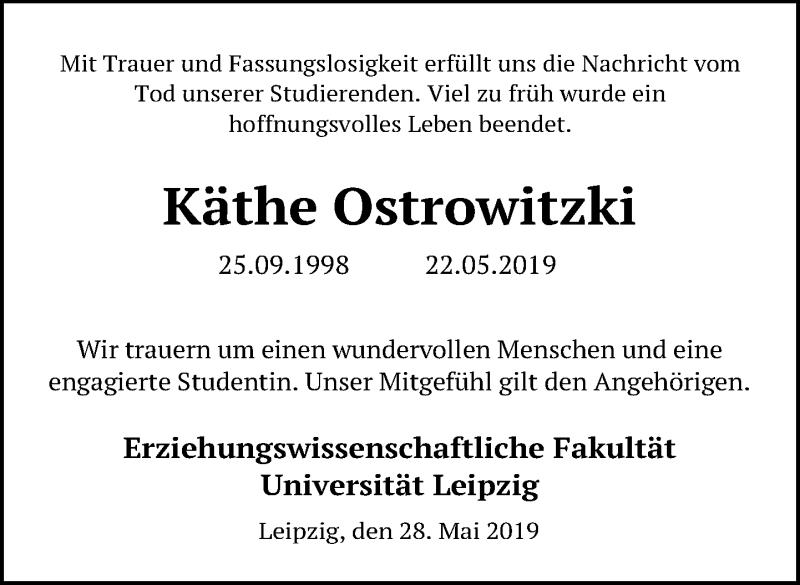 Traueranzeige für Käthe Ostrowitzki vom 31.05.2019 aus Leipziger Volkszeitung