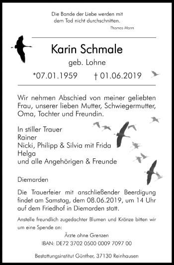 Traueranzeige für Karin Schmale vom 05.06.2019 aus Göttinger Tageblatt