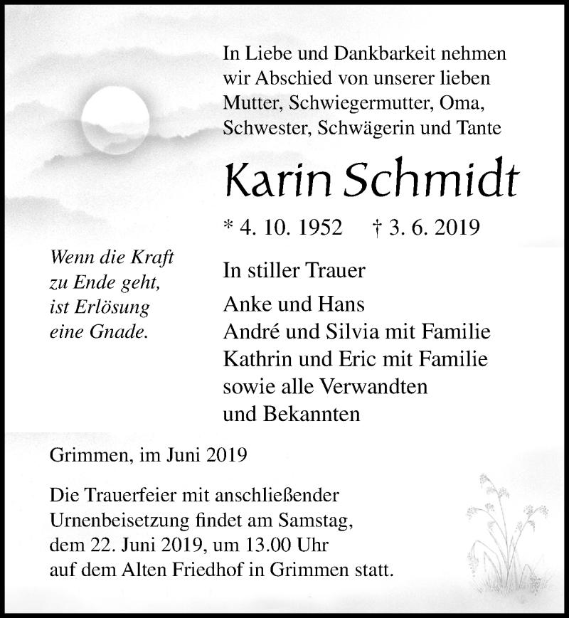 Traueranzeige für Karin Schmidt vom 08.06.2019 aus Ostsee-Zeitung GmbH
