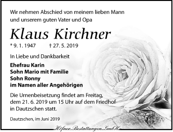 Traueranzeige für Klaus Kirchner vom 08.06.2019 aus Torgauer Zeitung