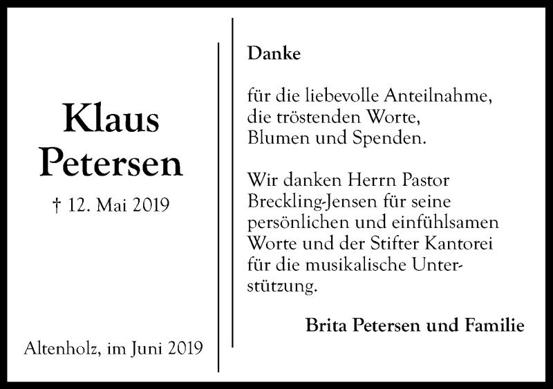 Traueranzeige für Klaus Petersen vom 08.06.2019 aus Kieler Nachrichten