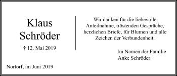 Traueranzeige für Klaus Schröder vom 06.06.2019 aus Kieler Nachrichten