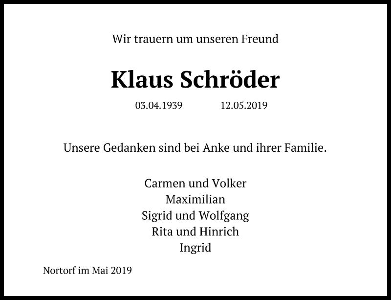 Traueranzeige für Klaus Schröder vom 21.05.2019 aus Kieler Nachrichten