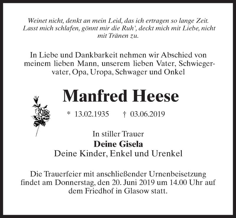 Traueranzeige für Manfred Heese vom 08.06.2019 aus Märkischen Allgemeine Zeitung