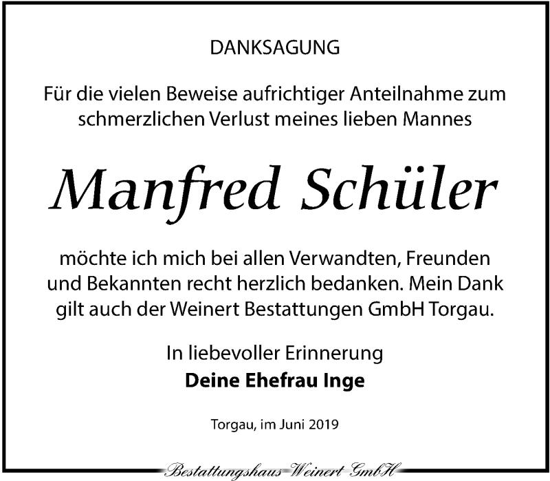 Traueranzeige für Manfred Schüler vom 15.06.2019 aus Torgauer Zeitung
