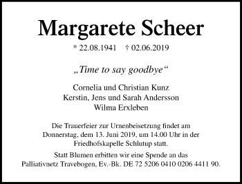 Traueranzeige für Margarete Scheer vom 09.06.2019 aus Lübecker Nachrichten
