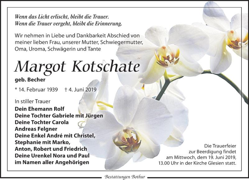 Traueranzeige für Margot Kotschate vom 08.06.2019 aus Leipziger Volkszeitung