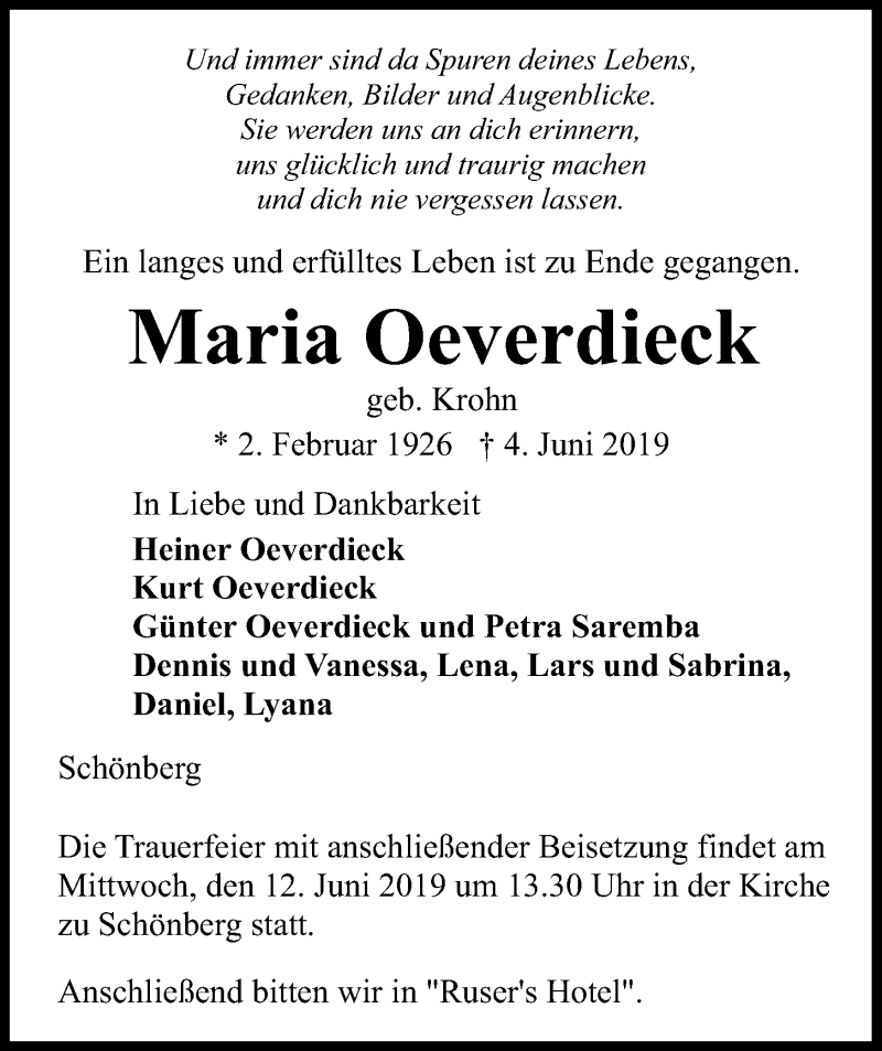 Traueranzeige für Maria Oeverdieck vom 08.06.2019 aus Kieler Nachrichten