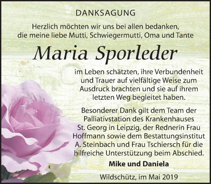Traueranzeige für Maria Sporleder vom 01.06.2019 aus Torgauer Zeitung