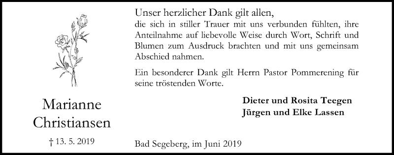 Traueranzeige für Marianne Christiansen vom 19.06.2019 aus Kieler Nachrichten