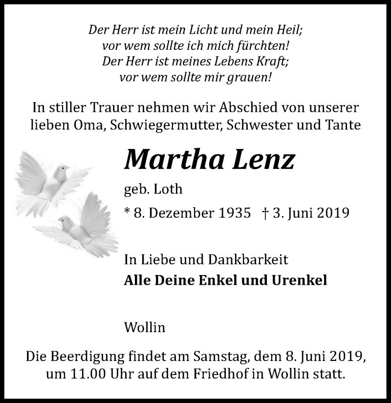 Traueranzeige für Martha Lenz vom 06.06.2019 aus Märkischen Allgemeine Zeitung