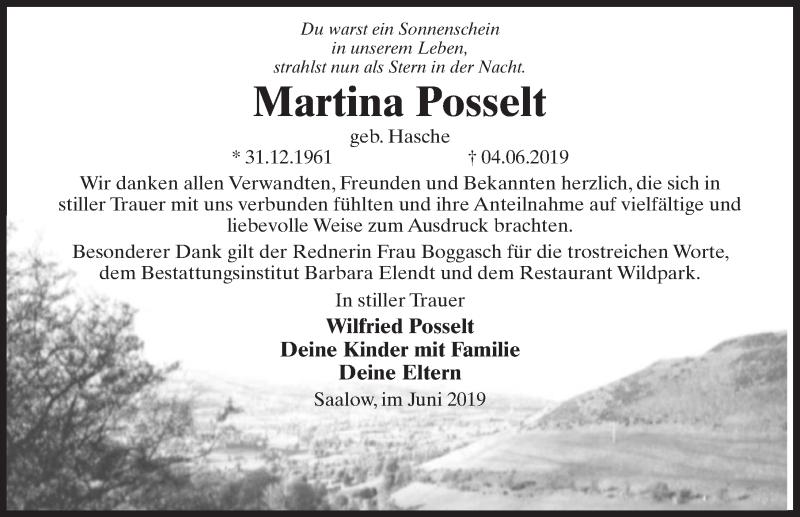 Traueranzeige für Martina Posselt vom 22.06.2019 aus Märkischen Allgemeine Zeitung