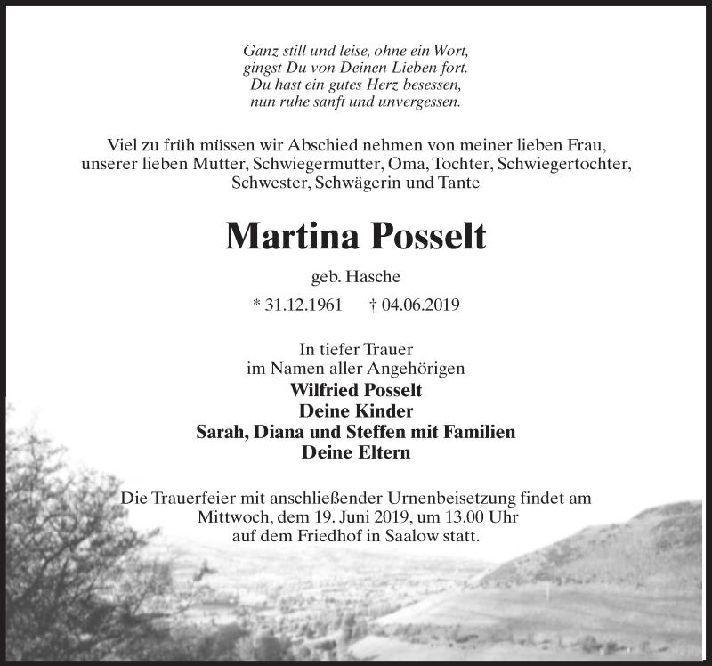Traueranzeige für Martina Posselt vom 08.06.2019 aus Märkischen Allgemeine Zeitung