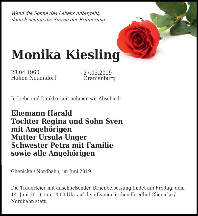 Traueranzeige für Monika Kiesling vom 07.06.2019 aus Märkischen Allgemeine Zeitung