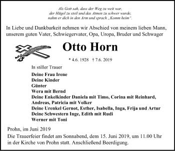 Traueranzeige für Otto Horn vom 12.06.2019 aus Ostsee-Zeitung GmbH