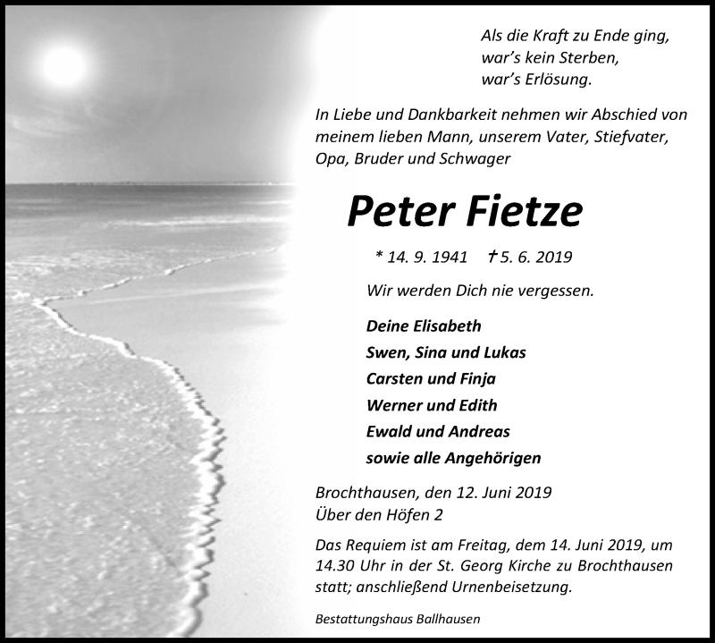 Traueranzeige für Peter Fietze vom 12.06.2019 aus Eichsfelder Tageblatt