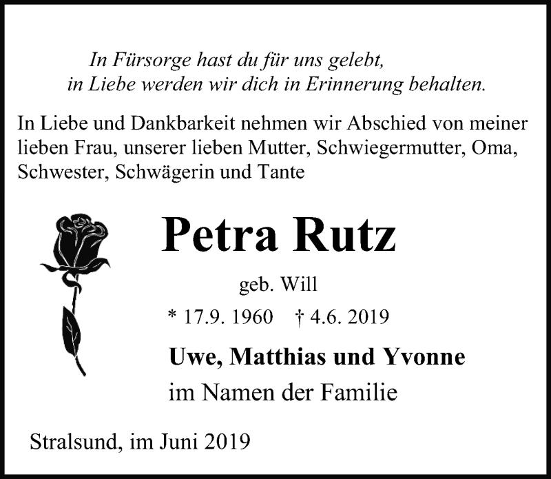 Traueranzeige für Petra Rutz vom 08.06.2019 aus Ostsee-Zeitung GmbH