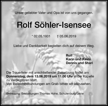 Traueranzeige für Rolf Söhler-lsensee vom 08.06.2019 aus Hannoversche Allgemeine Zeitung/Neue Presse