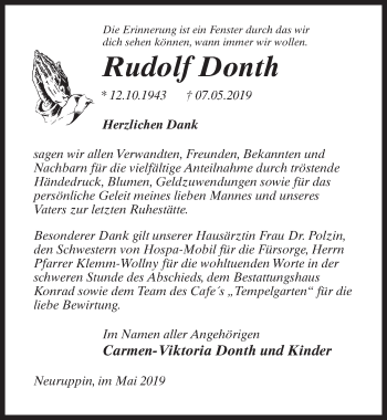 Traueranzeige für Rudolf Donth vom 01.06.2019 aus Märkischen Allgemeine Zeitung