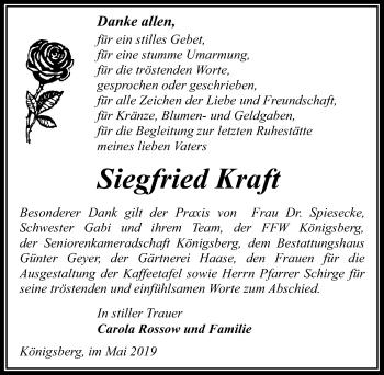 Traueranzeige für Siegfried Kraft vom 07.06.2019 aus Märkischen Allgemeine Zeitung