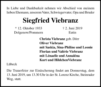 Traueranzeige für Siegfried Viebranz vom 09.06.2019 aus Lübecker Nachrichten