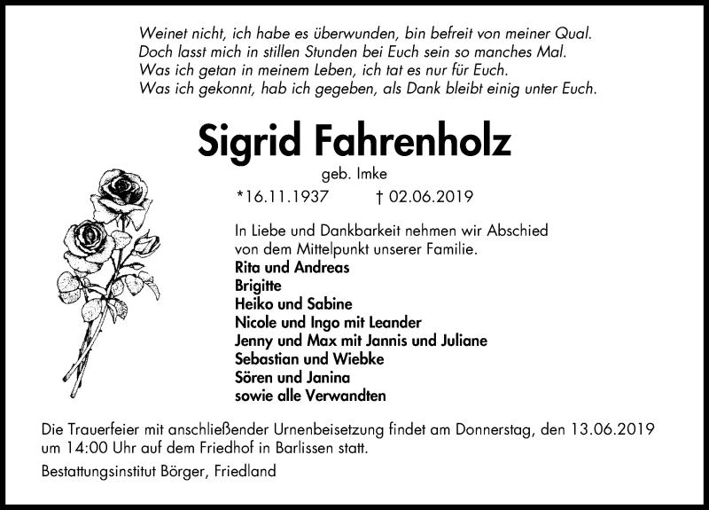 Traueranzeige für Sigrid Fahrenholz vom 08.06.2019 aus Göttinger Tageblatt