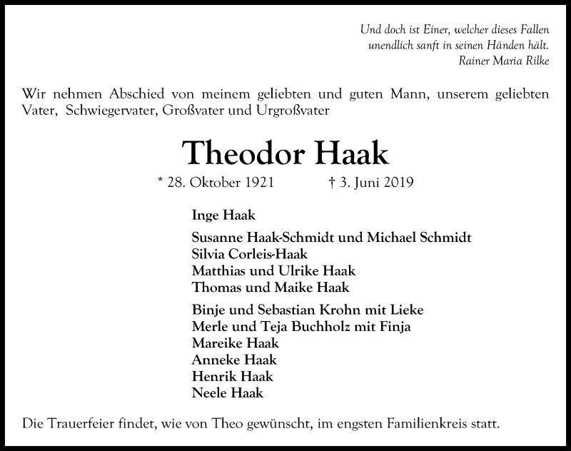 Traueranzeige für Theodor Haak vom 07.06.2019 aus Lübecker Nachrichten