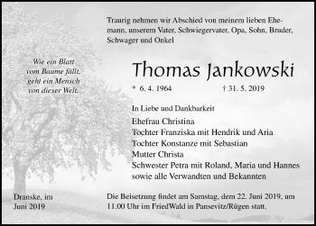 Traueranzeige für Thomas Jankowski vom 08.06.2019 aus Ostsee-Zeitung GmbH
