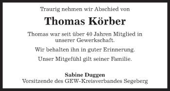 Traueranzeige für Thomas Körber vom 22.05.2019 aus Kieler Nachrichten