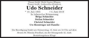 Traueranzeige für Udo Schneider vom 08.06.2019 aus Hannoversche Allgemeine Zeitung/Neue Presse