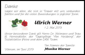 Traueranzeige für Ulrich Werner vom 01.06.2019 aus Peiner Allgemeine Zeitung