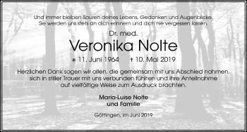 Traueranzeige für Veronika Nolte vom 22.06.2019 aus Göttinger Tageblatt